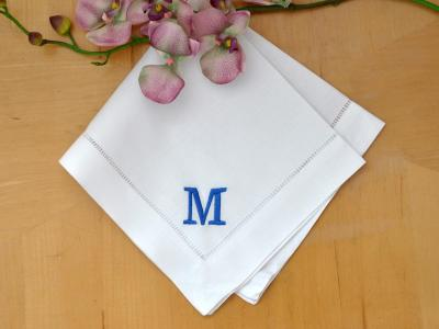 Set of 4 Monogrammed Linen Dinner Napkins w/ 1 Initial- Font R