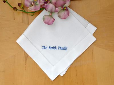 Set of 4 Personalized Line Of Your Choice Linen Napkins - Font H