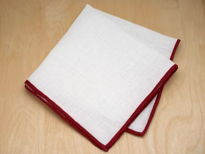 Burgundy Edged Mens Linen Pocket Square