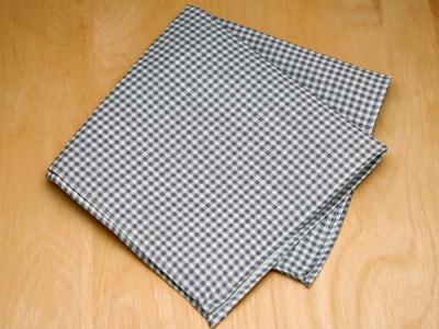 Gray Gingham Mens Linen Pocket Square