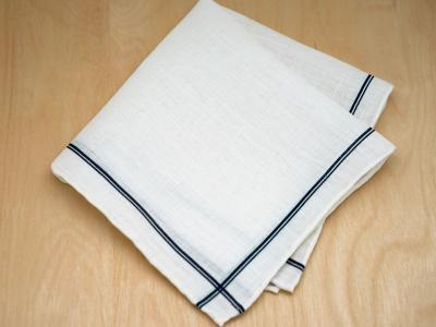 Navy Striped Mens Linen Pocket Square