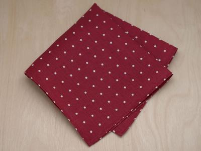 Burgundy Dot Mens Linen Pocket Square