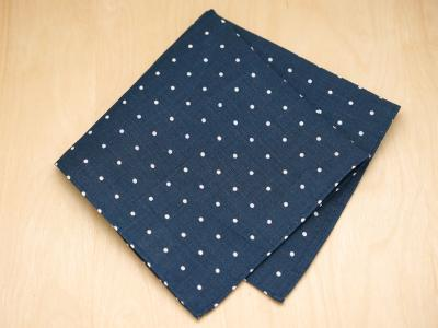 Navy Dot Mens Linen Pocket Square