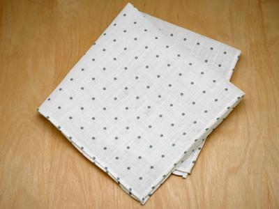 Gray Polka Dot Mens Linen Pocket Square