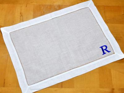 Set of 4 Monogrammed Linen Placemats 1 Initial Font R