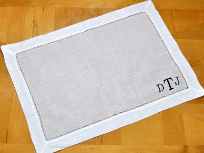 Set of 4 Monogrammed Linen Placemats 3 Initial Font R