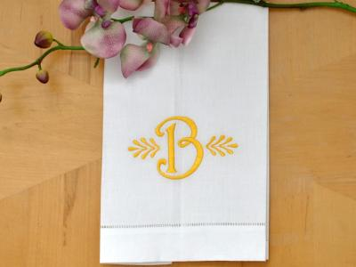 Monogrammed White Linen Hand Towel w/ Single Initial Font X