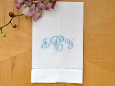 Monogrammed White Linen Hand Towel w/3 Initials Font J