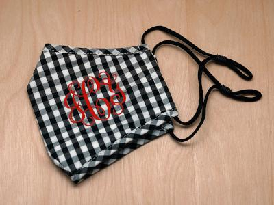 Monogrammed Black Gingham Face Mask