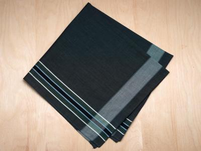 Set of 3 Charcoal Grey and Green Striped Handkerchiefs