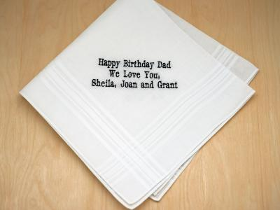 Personalized Up To 4 Lines Birthday Hankie Mens Font H