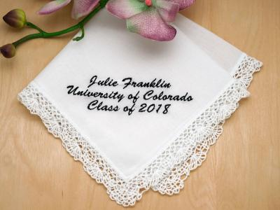 Personalized Up To 4 Lines Graduation Hankie - Font L