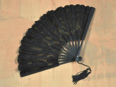 Black Battenburg Lace Fan