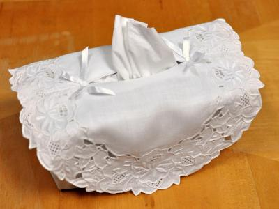 Cotton Tissue Box Cover with a Lotus Cutwork Lace Overlay