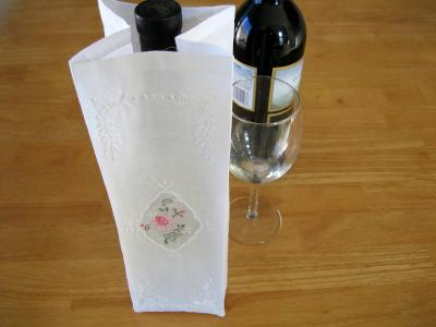Linen Flower Embroidered Wine Bottle Gift Bag