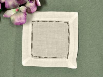 1 Dozen Ecru Hemstitched Linen Cocktail Napkins