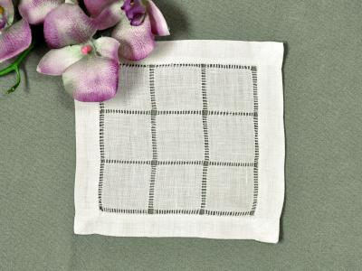1 Dozen Ecru Grid Hemstitched Linen Cocktail Napkins