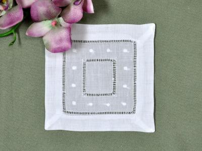 1 Dozen White Hemstitched Linen Cocktail Napkins With Dots