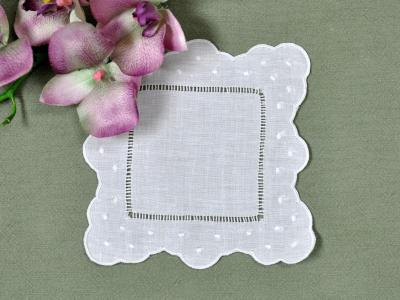 1 Dozen White Linen Cocktail Napkins with Scallop Dot Edges