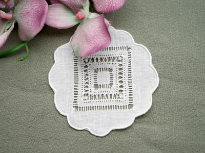 1 Dozen Small Round Drawnwork Cocktail Napkins 4 in