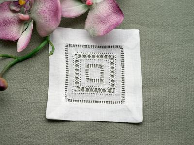 1 Dozen Small Hemstitched And Drawnwork Cocktail Napkins 4 in