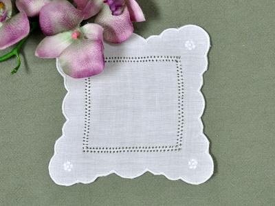 1 Dozen White Linen Cocktail Napkins with Scalloped Edges