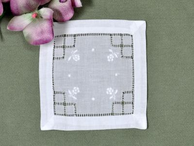 1 Dozen White Linen Cocktail Napkins with Daisy Squares