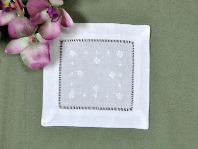 1 Dozen White Linen Cocktail Napkins with Daisies