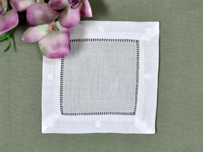 1 Dozen White Linen Cocktail Napkins With a Daisy Border