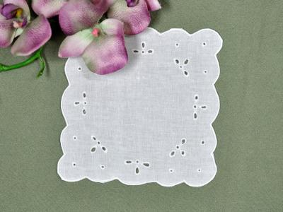 1 Dozen White Linen Cocktail Napkins with Eyelet Woven Design