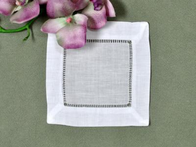 1 Dozen White Hemstitched Linen Cocktail Napkins