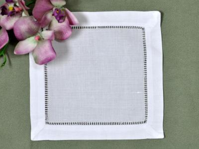 1 Dozen Large White Hemstitched Linen Cocktail Napkins