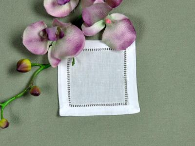 1 Dozen Small White Hemstitched Linen Cocktail Napkins