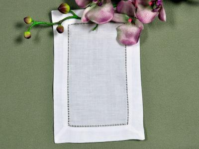 "1 Dozen White Hemstitched Linen 6"" x 9"" Cocktail Napkins"