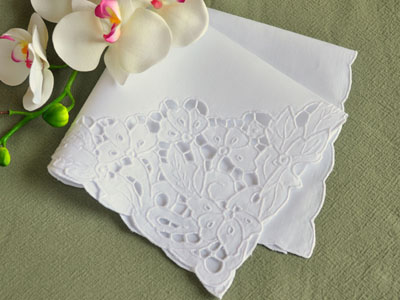 1 Dozen White Floral Cutwork Lace Dinner Napkins