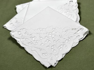 1 Dozen White Vine Cutwork Lace Dinner Napkins