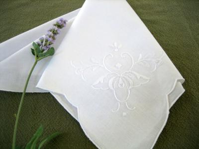 1 Dozen White Dinner Napkins with Whimsical Butterfly Design