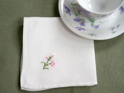 1 Dozen White Tea Napkins with Pink Embroidered Flowers