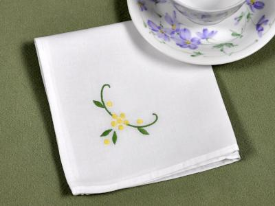 1 Dozen White Tea Napkins with a Yellow Daisy