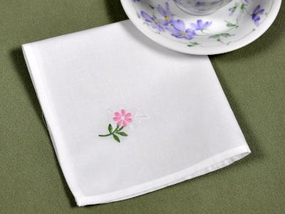 1 Dozen White Tea Napkins with a Pink Embroidered Flower
