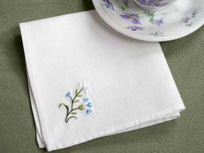 1 Dozen White Tea Napkins with Blue Flowers