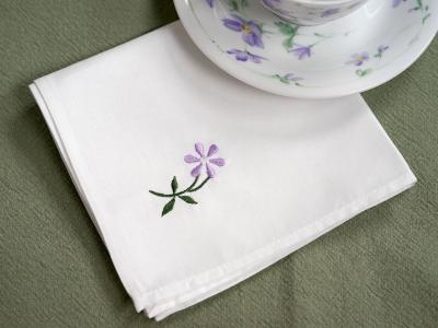 1 Dozen White Tea Napkins with a Purple Embroidered Daisy