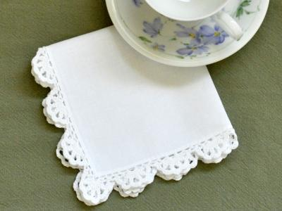 1 Dozen White Scallop Crochet Lace Tea Napkins