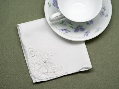 1 Dozen White Battenburg Lace Tea Napkins