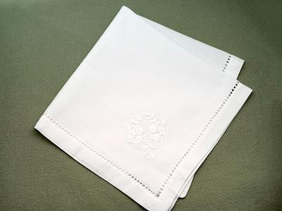 1 Dozen White Hemstitch Dinner Napkins with a Floral Wreath