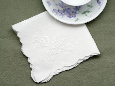 1 Dozen Linen Luncheon Napkins with Roses