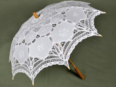 White Victorian Inspired Battenburg Lace Parasol