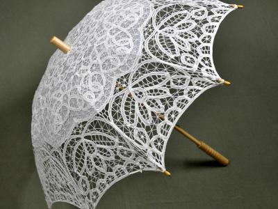 White Cathedral Battenburg Lace Parasol