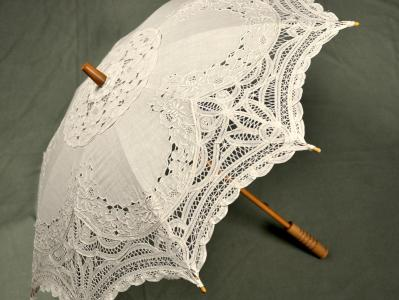 Ecru Cutwork and Battenburg Lace Parasol