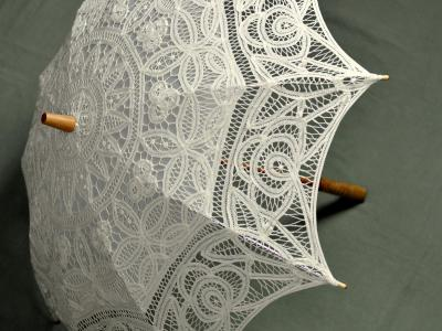 Ecru Wedding Battenburg Lace Parasol